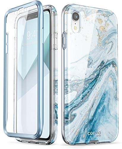 """i-Blason Cosmo Full-Body Bumper Case for iPhone XR 2018 Release, Blue Marble, 6.1"""""""