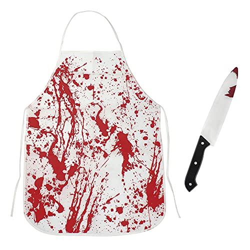 Yuehuabao 1 Delantal Sangrienta de Halloween con 1 Cuchillo de Carnicero para Disfraz de Carnicero Sangriento de Halloween Decoraciones de Terror de Halloween(Estilo Terror,70x52cm)