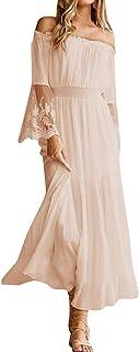 Style Dome - Abito da donna a maniche lunghe, stile boho, con motivo floreale, estivo, lungo