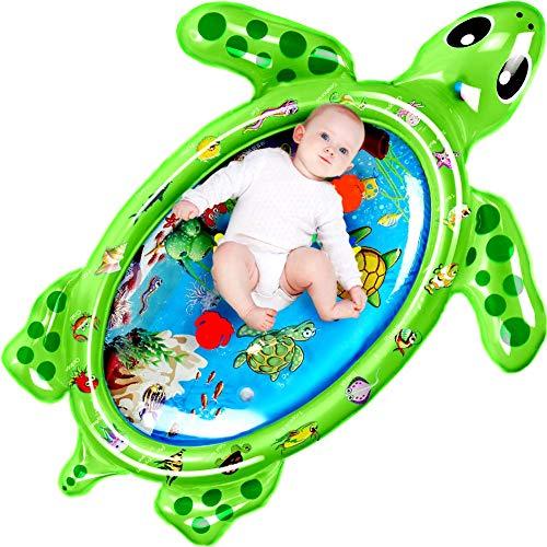 StillCool Alfombra Inflable con Agua 120 * 90CM Tortuga, Juego de Esterilla de Agua PVC Grueso, Adecuado para niños pequeños, es el Momento de diversión Juego Centro de Actividad(Verde)…