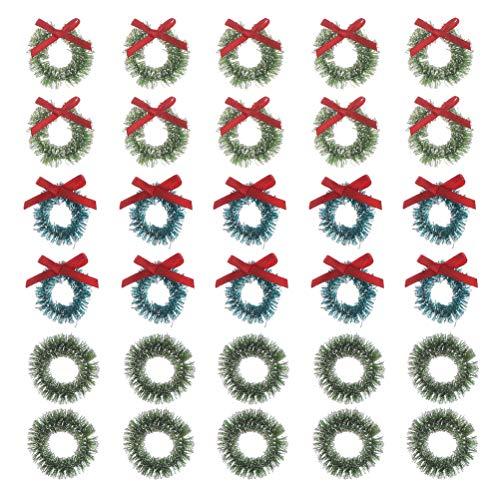 Dekorative Mini-Weihnachtskränze für Zuhause, Tür, Fenster und Wand, 30 Stück