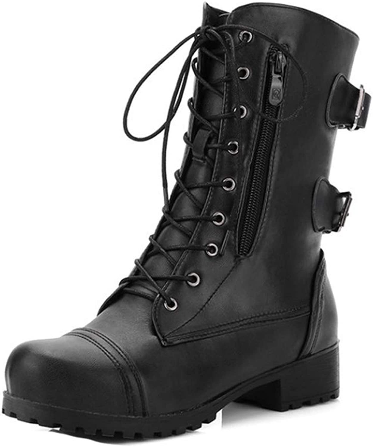 GIY Women's Combat Mid Calf Boots Lace Up Zipper Buckle Round Toe Low Heel Motorcycle Military Riding Boot