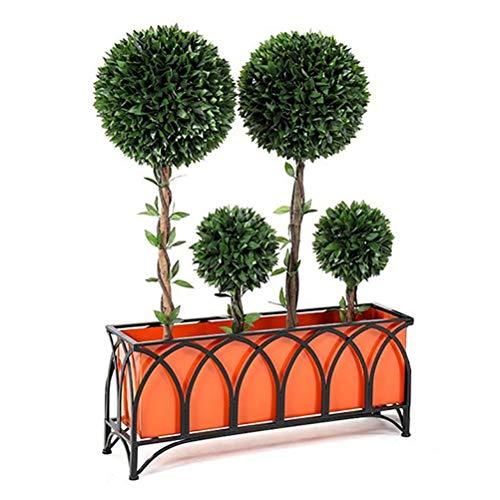 Zhyaj Criado Vegetal Cama De Metal Trough Plantadores Gran Jardín Plantadores para Al Aire Libre Y Iutdoor,Negro,150 * 30 * 45cm