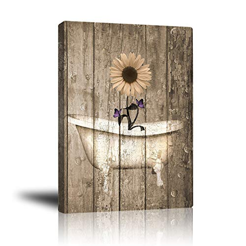 Abstract Floral Wall Art Canvas Print Indoor Decor, Rustic Daisy Purple Butterfly and Bathtub Painting Artwork for Home Living Room Bathroom Bedroom Bar Office Ready to Hang 16'x 20'