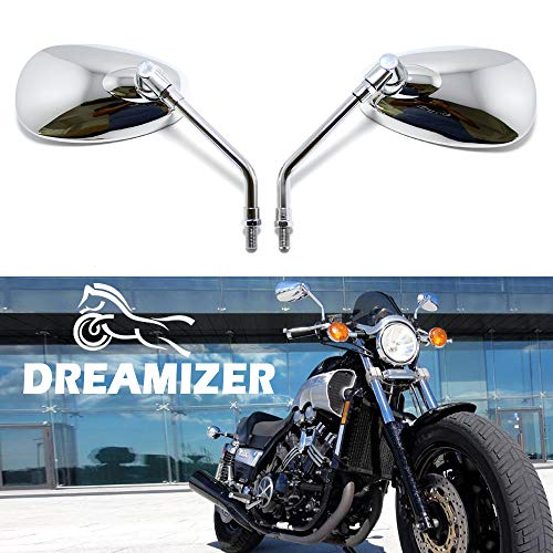 DREAMIZER 10mm Cromo Espejo de la Motocicleta, Espejo retrovisor de Moto para Shadow Rebel VTX 1300 1800 Vulcan VN 500800 1500 1600 SV650S Boulevard Scooter Street Bike