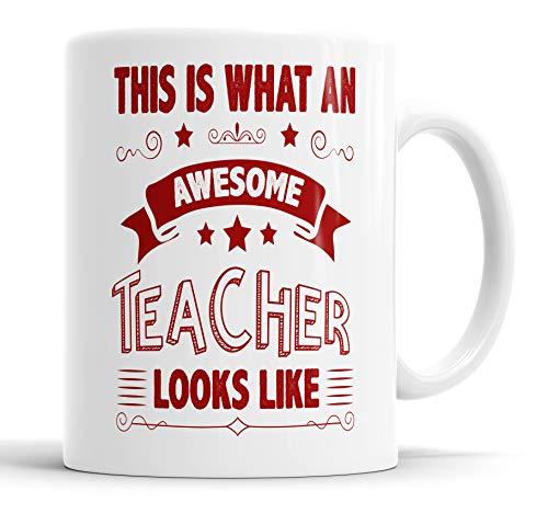 "Taza con texto en inglés ""This is What an Awesome Teacher Looks Like Hummour, Broma, Dejando Present, Taza de regalo de cumpleaños, Navidad, tazas de cerámica"