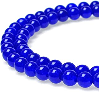 JARTC Natural Stone Beads Sapphire Jade Round Loose Beads for Jewelry Making DIY Bracelet Necklace (6mm)