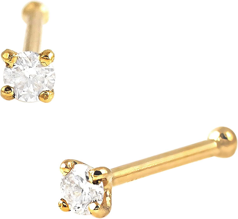 Solid 14Kt Gold Moissanite Stud Bone Ring - Nose 22G お気にいる 買収