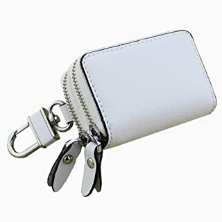 Women's Wallet Cross-Stitched Leather Key Case Popular Double-Layer Zipper Car Key Case (Color : White, Size : S)