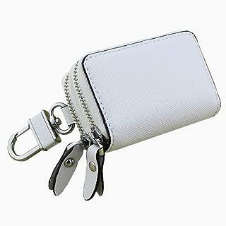 Women's Wallet Cross-Stitched Leather Key Case Popular Double-Layer Zipper Car Key Case Fashion (Color : White, Size : S)