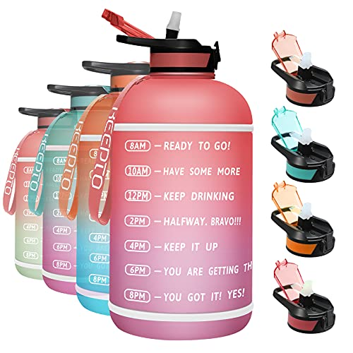 KEEPTO Large 1 Gallon Water Bottle with Straw Lid, Leakproof BPA Free Sports Water Jug with Time Marker, Wide Mouth Dust-Proof Drinking Bottle for Fitness Cycling Outdoor Activities