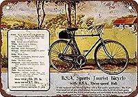 メタルサイン1938BSAスポーツツーリスト自転車ヴィンテージウォールアートサインユニークな装飾ブリキサイン