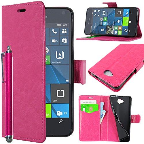 ebestStar - kompatibel mit Microsoft Lumia 650 Hülle Kunstleder Wallet Hülle Handyhülle [PU Leder], Kartenfächern, Standfunktion + Stift, Pink [Lumia 650: 142 x 70.9 x 6.9mm, 5.0'']