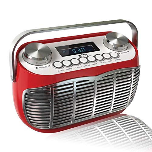 Detroit, FM AM Radio Alarm Clock Bedside Mains Powered Or Battery FM Retro Radio with LCD Display Clock Radio (Red)