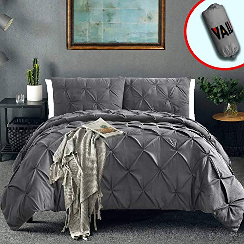 Vailge 3 Piece Pinch Pleated Duvet Cover with Zipper Closure, 100% 120gsm Microfiber Pintuck Duvet Cover, Luxurious & Hypoallergenic Pintuck Decorative(Queen,Dark Grey)