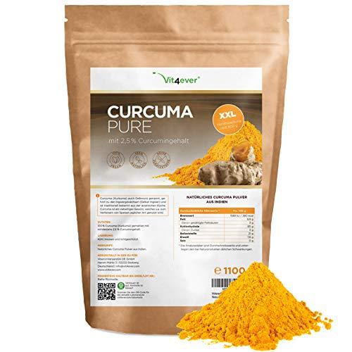 Poudre de curcuma 1,1 Kg - Testé en laboratoire - Premium : Avec curcumine - Poudre de curcuma pure en provenance d'Inde sans additifs - Cultivé durablement - Végétalien