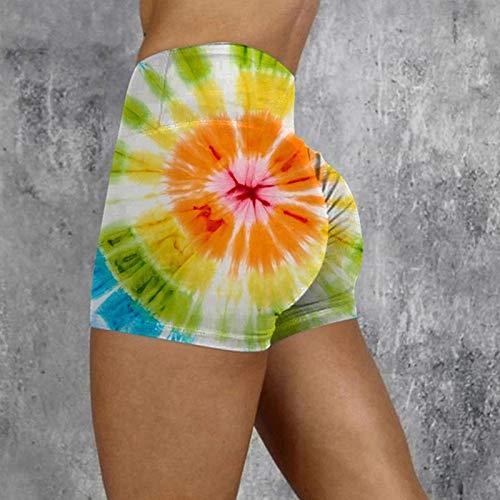 Women Famous Short Leggings Gradient Printed Butt Lift Workout Shorts Print Scrunch Yoga Pants,Women Short Leggings Casual Hip-lifting Yoga Shorts
