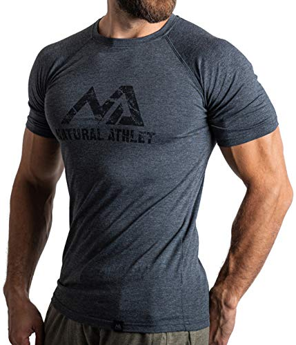Herren Fitness T-Shirt meliert - Männer Kurzarm Shirt für Gym & Training - Passform Slim-Fit, lang mit Rundhals, Anthrazit, S