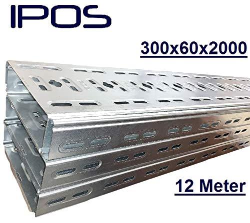 12 m IPOS Kabelrinne 300x60 Kabelkanal Kabeltrasse Verzinkt Metallkanal