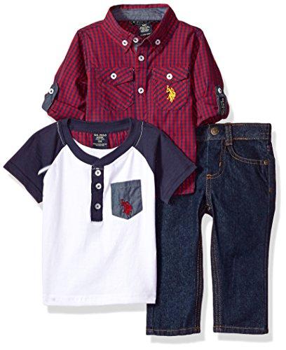 U.S. Polo Assn. Baby Boys' Sport Shirt, Creeper and Pant Set, 0692-Multi Plaid, 12M