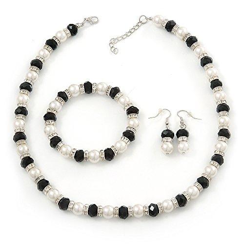 Parure di gioielli con collana, bracciale e orecchini con perla bianca, perla di vetro nera e anello con diamante (colore argento)