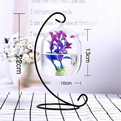Yshen Aquarium Desktop Hanging Glass Einfache Mini Gras Spaß Klar Fisch Zylinder Schüssel Eisen Ständer Halter LB