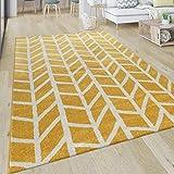 Alfombra Salón Motivo Geométrico Moderna Pelo Corto De Rayas En Amarillo Y Blanco, tamaño:120x170 cm