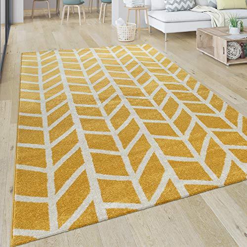 Paco Home Teppich Wohnzimmer Muster Geometrisch Modern Kurzflor Streifen In Gelb Weiß, Grösse:200x290 cm