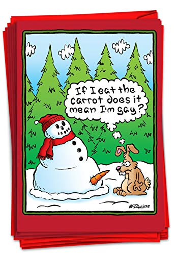 NobleWorks - Box of 12 Cartoon Christmas Cards - Funny Adult Holiday Greeting Cards, Festive Notecard Set Bulk (1 Design, 12 Cards) - Eat The Carrot B5769