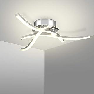 Kingwen 16W Plafonnier LED Moderne,4000K Luminaire Plafonnier en Argent avec 3 bras,1200LM lustre Plafond en Aluminium pou...