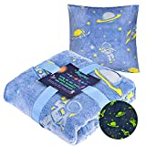 """Glow in The Dark Blanket 50"""" X 60"""" and Pillowcase 20"""" X 20"""" - Unique Gift Bundle for Kids Boys, Premium Super Soft Fluffy Throw Blanket for All Season Use, Blue Space Galaxy Blanket"""