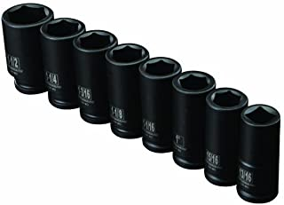 8 Piece 3/4 inch Drive SAE Deep Wall Impact Socket Set with Storage Case