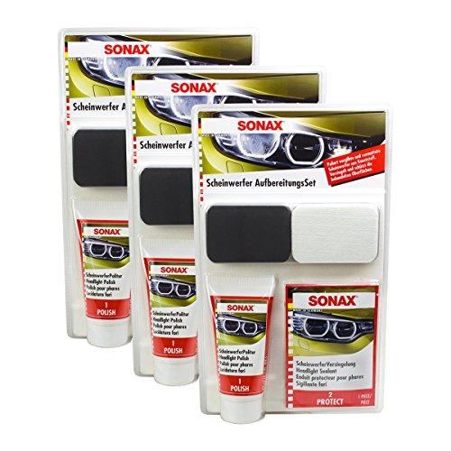SONAX 3X 04059410 Scheinwerfer AufbereitungsSet 1 Stück