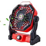 ERAVSOW Camping Fan with LED Lantern, 7800mAh Battery Operated Powered Personal Fan for Desk, Portable USB Rechargeable...