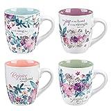 Christian Art Gifts Ceramic Coffee/Tea Mug Set for Women   Rejoice Watercolor Flowers Design Bible Verse Mug Set   Boxed Set/4 Coffee Cups