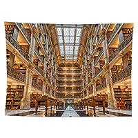 レトロな風の毛布の本棚、図書館のパターンノルディックのヒント家の装飾色合い食料品布ポスターパーソナライズされた贈り物(150×100センチ)