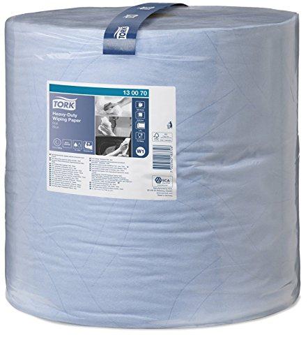 Tork 130070 Extra Starke Mehrzweck Papierwischtücher für W1 Bodenständer- und Wandhalter-System / 2-lagige Putztücher Rolle in Blau / Premium Qualität / 1 x 340 m