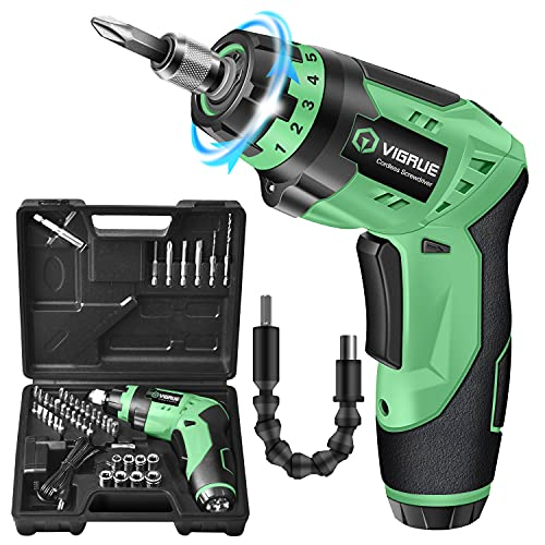 Cordless Screwdriver, VIGRUE Rechargeable Electric Screwdriver with LED Light, Flexible Shaft, 4V MAX 2000mAh Li-ion