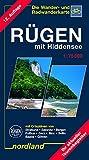 Nordland Karten, Rügen mit Hiddensee: Wander- und Radwanderkarte. Rückseite mit Reiseführer. Aktuelle Wanderwege (Deutsche Ostseeküste)