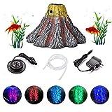 Vulcano Acquario Resina Ornament Fish Tank Kit, Ossigenatore per Acquario,luci a Forma di Vulcano RGB luci a LED per acquari, luci a Bolle, luci per Decorazione Vulcano