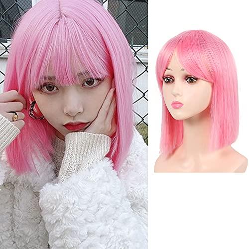 MEIRIYFA - Rosa Parrucca corta con frangia da, per donne e ragazze, capelli Bob parrucca naturale e alla moda, capelli sintetici, per feste di tutti i giorni, cosplay, Halloween 30 cm