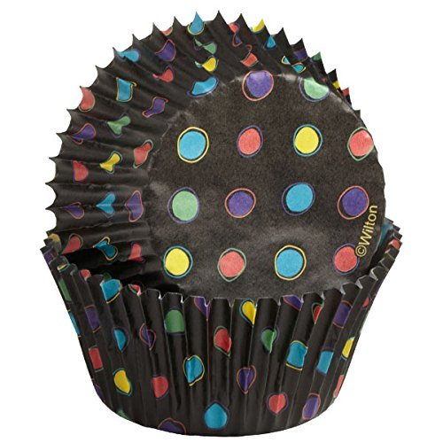 Black Foil No Fade Cupcake Liners with Neon Dots