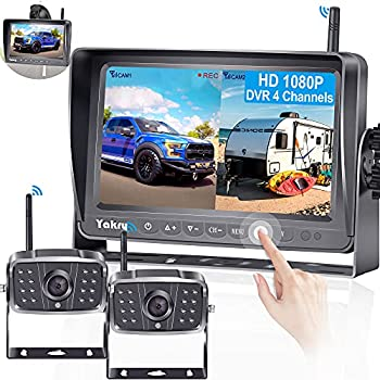Wireless RV Backup Camera HD 1080P 2 Wireless Rear View Cameras HighWay Observation System 7 Inch DVR Monitor Touch Key for RVs,Trailers,5th Wheels with Adapter for Furrion Pre-Wired RVs Yakry Y28