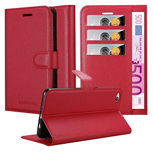 Cadorabo Hülle für ZTE Nubia M2 LITE in Karmin ROT - Handyhülle mit Magnetverschluss, Standfunktion & Kartenfach - Hülle Cover Schutzhülle Etui Tasche Book Klapp Style