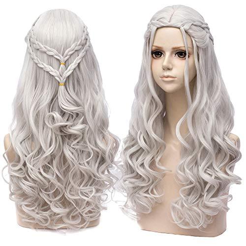 Daenerys Targaryen Perücke Grau Lange Damen Wellenförmige Mode Locken Perücken mit Pony Synthetische Wig Halloween Cosplay 008B