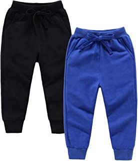 Boys Sweatpants Girls Active Jogger Pants Unisex 2-Pack Casual Elastic Drawstring Cotton 2-12 Trousers