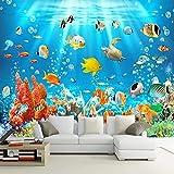 Papel pintado mural impermeable 3D mundo submarino pez foto pared pegatina dormitorio infantil acuario fondos de pantalla 3D