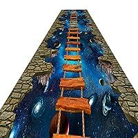 廊下敷きカーペット エクストラロング 3D 廊下の敷物 滑り止め付き 玄関キッチン廊下階段用 60cm / 80cm / 100cm / 120cmワイド (Size : 100x400cm)