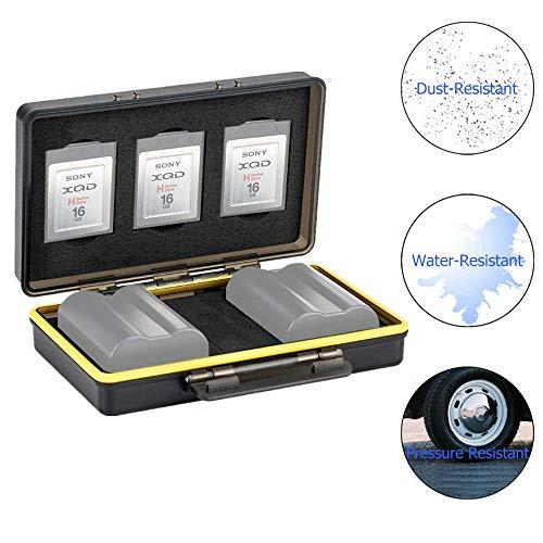 JJC Speicherkarten Schutzbox für 3 XQD Karten & 2 Slots Kompatibel mit Nikon EN-EL15 EN-EL15a EN-EL15b on Z6 Z7 D850 D7500 D810A D810 D800 D800E D750 D610 D500 D7200 D7100 D7000 Akku Tasche