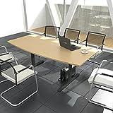 EASY Konferenztisch Bootsform 180x100 cm Buche Besprechungstisch Tisch